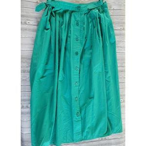 Green vintage holiday button Down skirt